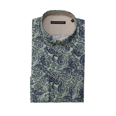 Eagle & Brown overhemd casual groen print