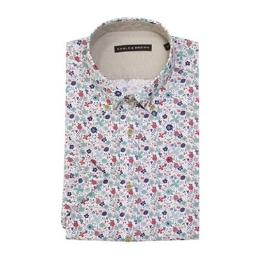 Eagle & Brown overhemd casual wit korte mouwen met print
