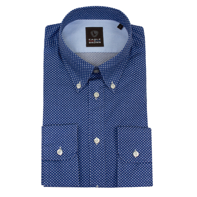 Eagle & Brown overhemd casual printje donkerblauw