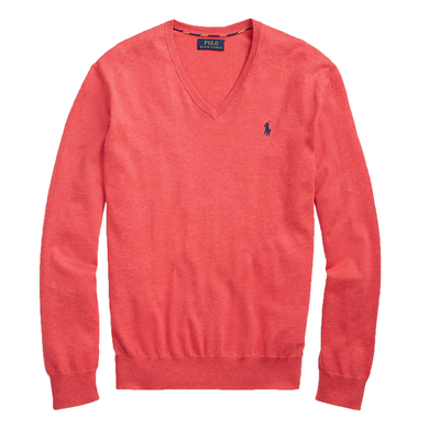 Ralph Lauren V-hals trui in Pima Cotton rood