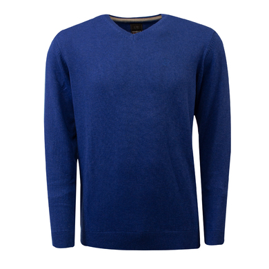 Eagle & Brown v-hals trui organic cotton kobalt blauw