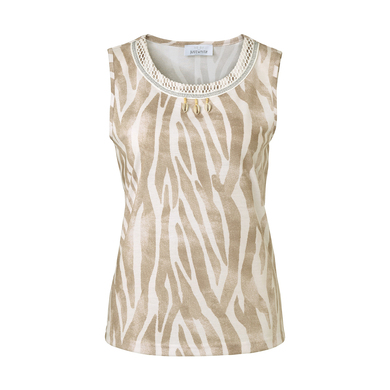 Just White top beige print