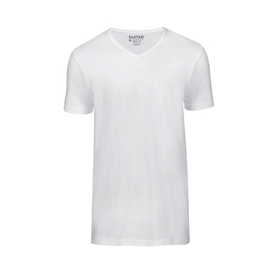Slater T-shirt 2-Pack Basic Fit V-hals Wit