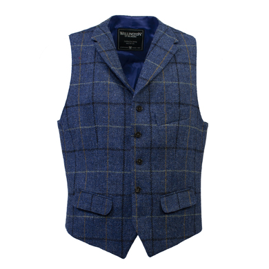 Wellington Gilet Wales Harris Tweed Ruit Blauw