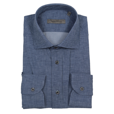 Corneliani overhemd travel tech donkerblauw